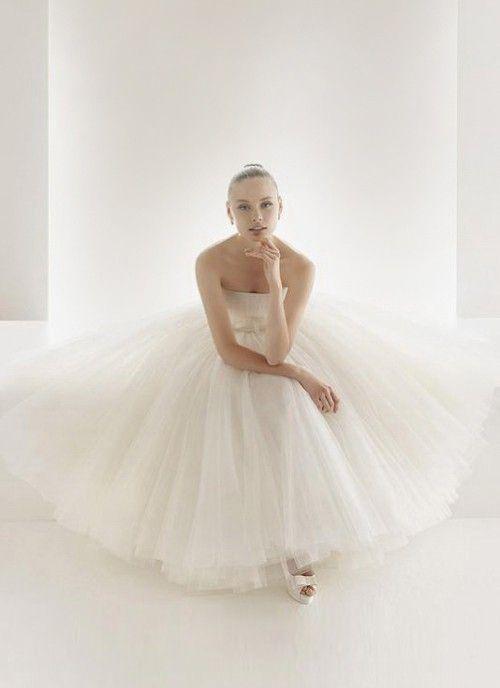 Vintage Ballerina Strapless Tea Length Satin Wedding Dress