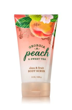 Georgia Peach & Sweet Tea - Shea & Fruit Body Scrub - Signature Collection - Bath & Body Works - Indulge in the perfect recipe for smooth, beautiful skin! Infused with Peach & Strawberry extract, our limited edition Shea & Fruit Body Scrub is rich in antioxidant Vitamins A & C. Creamy Shea Butter nourishes and softens while gentle exfoliators leave skin silky smooth for a radiant result.