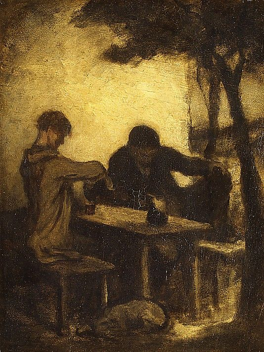 The Drinkers Honoré Daumier  (French, Marseilles 1808–1879 Valmondois) Medium: Oil on wood Dimensions: 14 3/8 x 11 in. (36.5 x 27.9 cm) Classification: Paintings