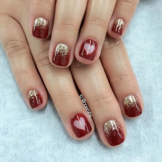 Red with heart nail - 55 Hottest Red Nail Art Ideas