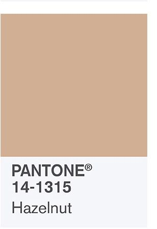 the spring 2017 Color Palette: PANTONE 14-1315 Hazelnut Rounding out the spring 2017 colors is Hazelnut, a key neutral for spring. This shade brings to mind a natural earthiness. Unpretentious and with an inherent warmth, Hazelnut is a transitional color that effortlessly connects the seasons.: