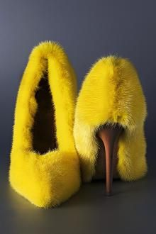 Celine Mink Shoes!  Now...I would wear these just because they are FIERCE!  Aren't they just crazy wonderful!  What would you wear this with?  I'm thinking a b/w houndstooth sheath dress!