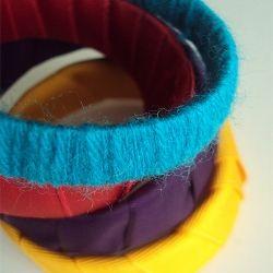 Bracelet made of old yogurt cups