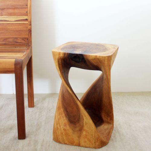 Twist Stool Sustainable Wood 12 in Sq x 20 in H w Eco Friendly Oak Oil Finish | eBay