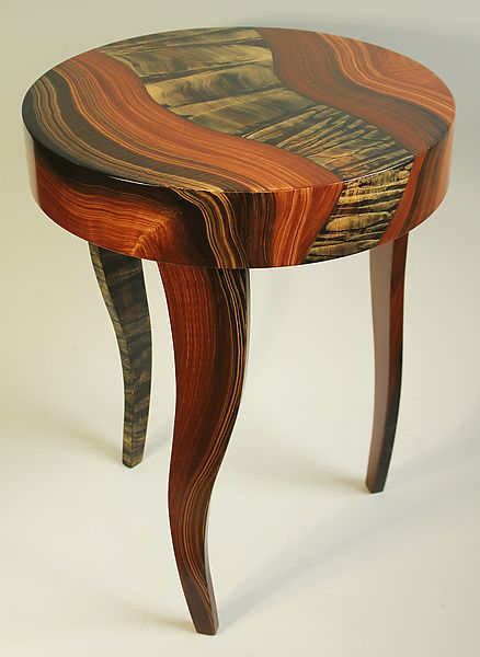 Tiger River Round Table by Ingela Noren and Daniel Grant: Wood Side Table available at www.artfulhome.com: