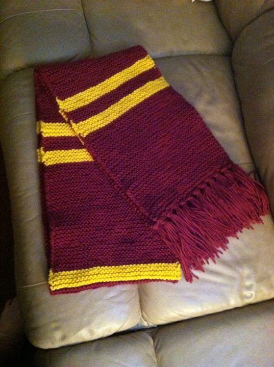 tricoter une echarpe gryffondor