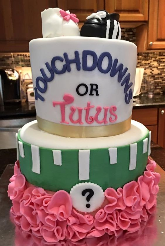 Gender Reveal Cake, Football Tutus by Decorated Dreams