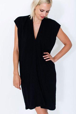 Black Everyday Dress, Double Gauze – Miranda Bennett Studio, LLC