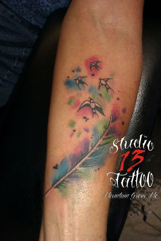 #watercolor #inkblots #birds #flyingaway #soft #color #tattoo #studio13tattoomg