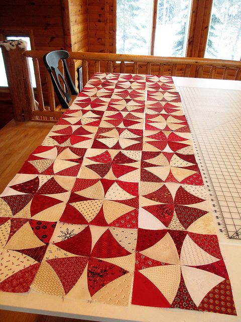 Red and Cream Winding Way - Quilts by Joyce, via Flickr