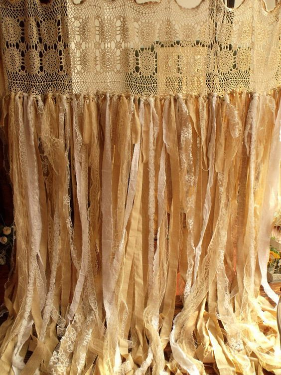 7 ft Burlap Lace Garland Curtain Vintage Crochet Lace Wedding ...