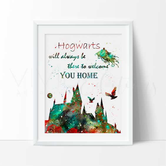 Creative Wall Decor For Nursery : Hogwarts quote harry potter watercolor art print