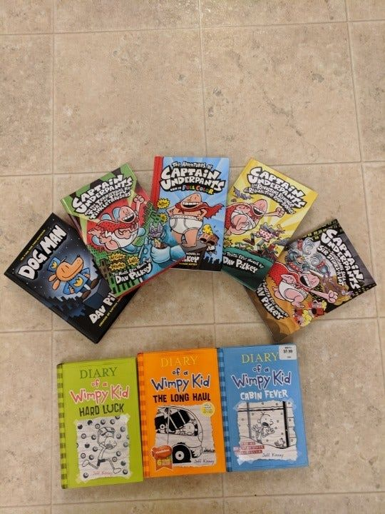 1 Dog Man Book 4 Captain Underpants Books And 3 Wimpy Kid Books Wimpy Kid Books Wimpy Kid My Little Pony Movie