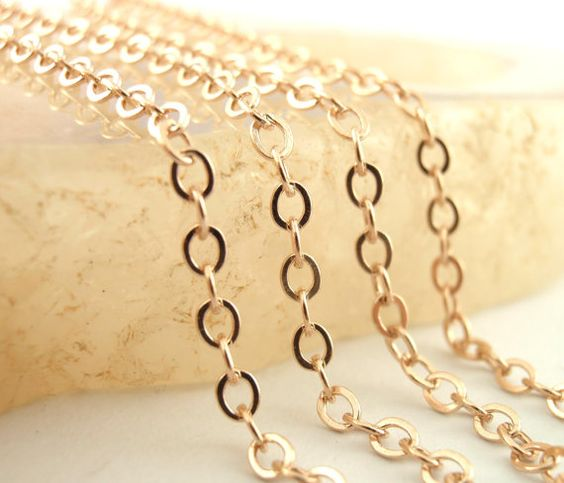 14kt Rose Gold Plated Sterling Silver Chain  By by UnkamenSupplies