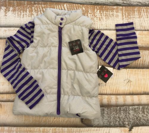 NWT $24.99 Energie Girls Sz Medium Two Piece Set Puff Vest Striped Purple Shirt