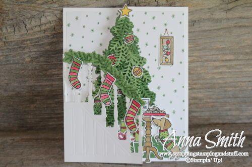 7 jours de Stampin 'Up! Catalogue de vacances Sneak Peeks. Idée de carte de Noël triple selon le kit de timbres Ready for Christmas et les thinlits d'escalier de Noël.