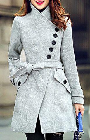 Elegant Stand Collar Candy Color Belt Design Long Sleeve Coat For Women