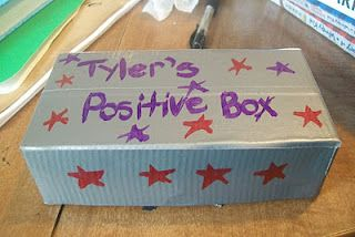 """Its called a """"Positive box.""""  When child starts feeling negative, they can  pull out this box and start reading all the positive messages inside it."""