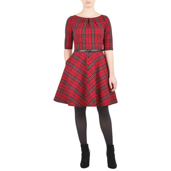 Belted cotton check pleat neck dress ($50) ❤ liked on Polyvore featuring dresses, red belted dress, checked dress, eshakti, eshakti dresses and red cotton dress