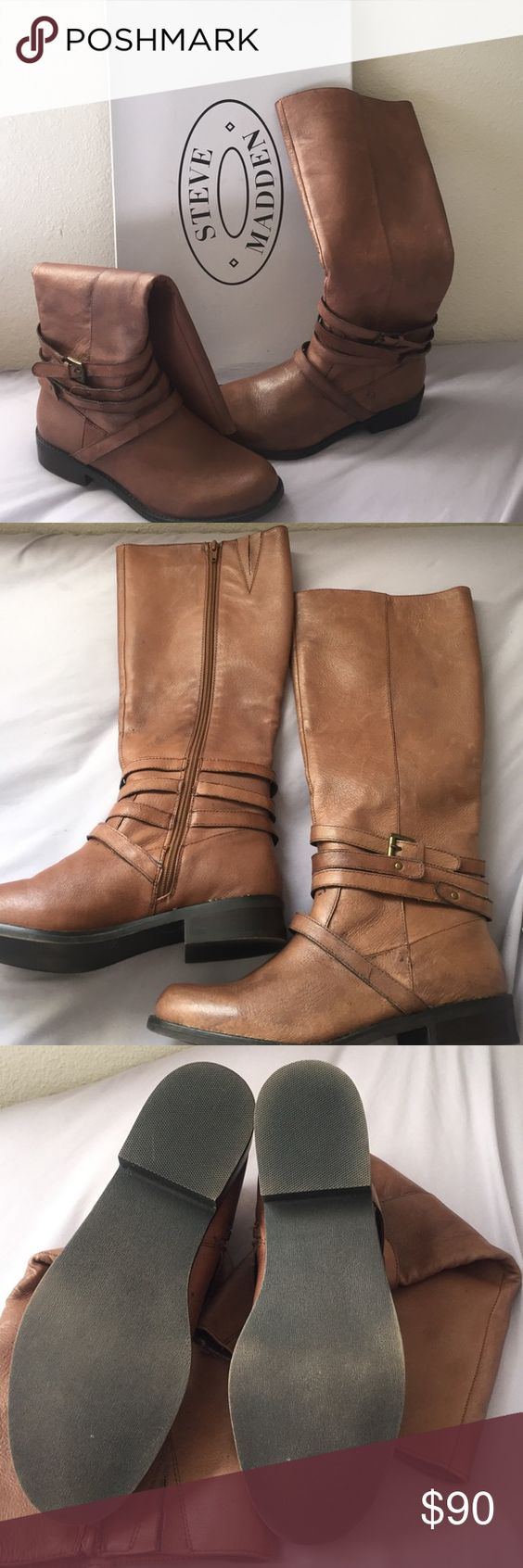 Steve Madden genuine leather ayva brown boots New in box, never worn before Steve Madden ayva boots come just below the knee on me! Willing to trade Steve Madden Shoes