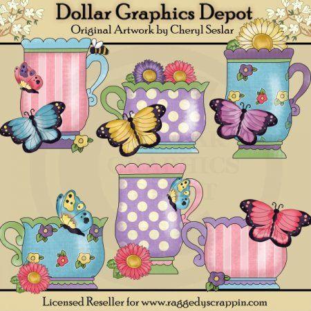 Pretty Butterfly Teacups - Clip Art
