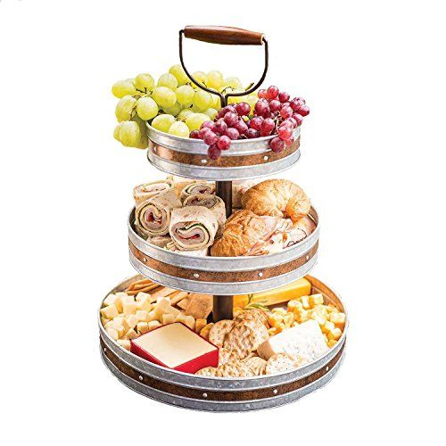 Tiered Serving Stand 3 Tier Tray With Handle Party Trays And Platters Galvanized Party Trays Tiered Serving Stand Food
