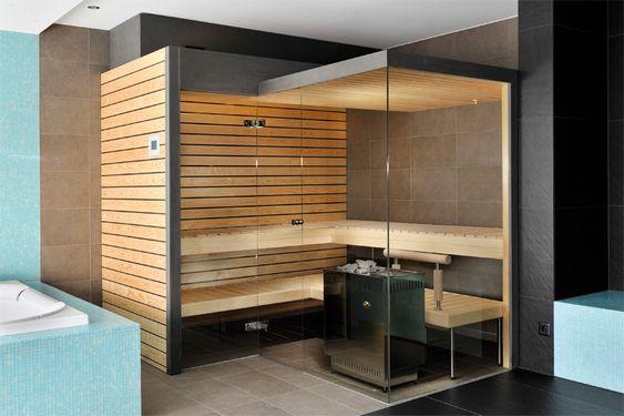 Sauna Glasfront Sauna Pinterest Saunas, Haus Interieu Design - schlichtes sauna design holz seeblick