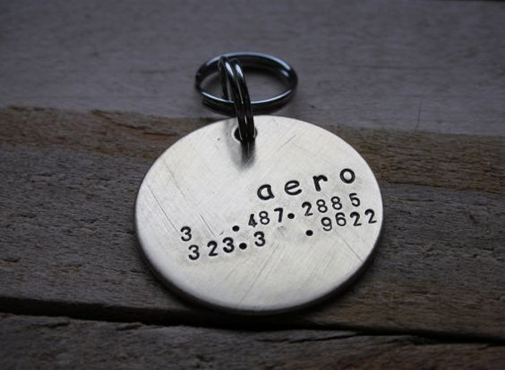 Custom Handstamped Dog/Pet ID Tag-The Rubette via Etsy