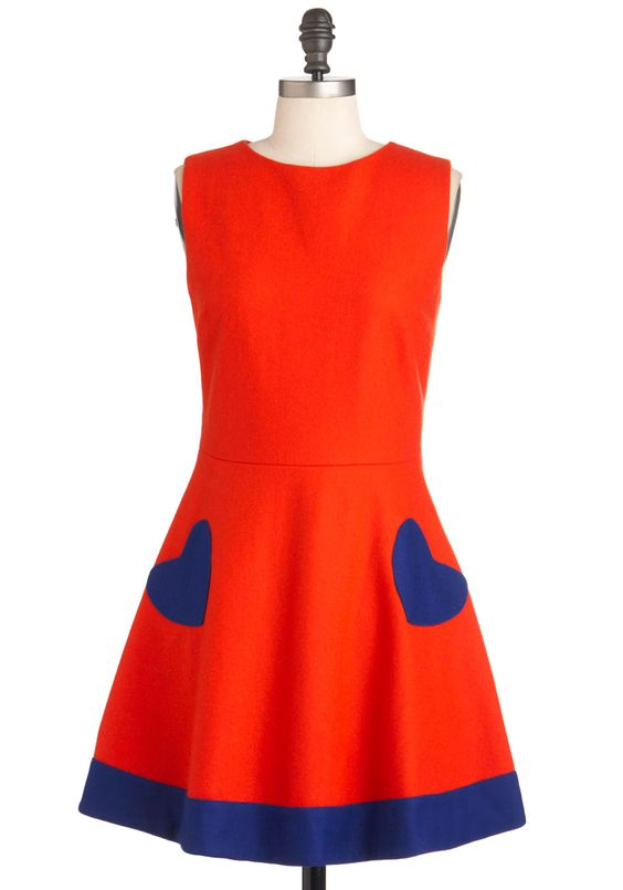 Heart of the Chatter Dress in Red-Orange - Mid-length, Blue, Buttons, Party, Sleeveless, Fit & Flare, Solid, Fall, Orange, Pockets