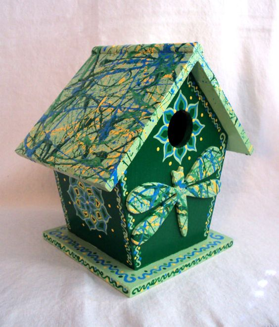 Festive+Green+Dragonfly+Birdhouse+by+SingingTrees+on+Etsy,+$35.00