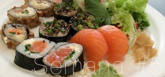 Sushi com salada foi um dos pratos da semana 5 do Projeto Lia Caldas 4.0 #liacaldas40 #alimentacao #healthyfood #vidasaudavel #emagrecimentonatural #emagrecer #weightloss #alimentacaosaudavel