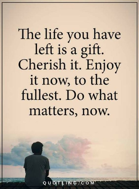 Life Quotes The life you have left is a gift. Cherish it. Enjoy it now, to the fullest. Do what matters, now.