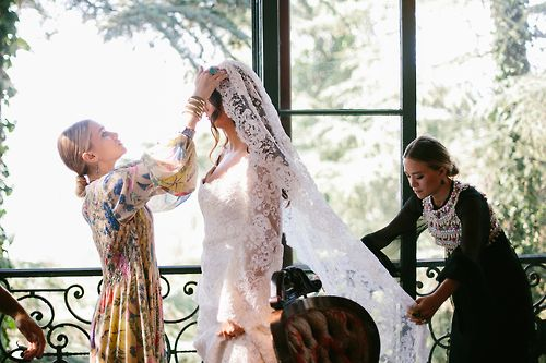 Mary-Kate Olsen and Ashley Olsen dress friend Molly Fishkin for her wedding in L.A.