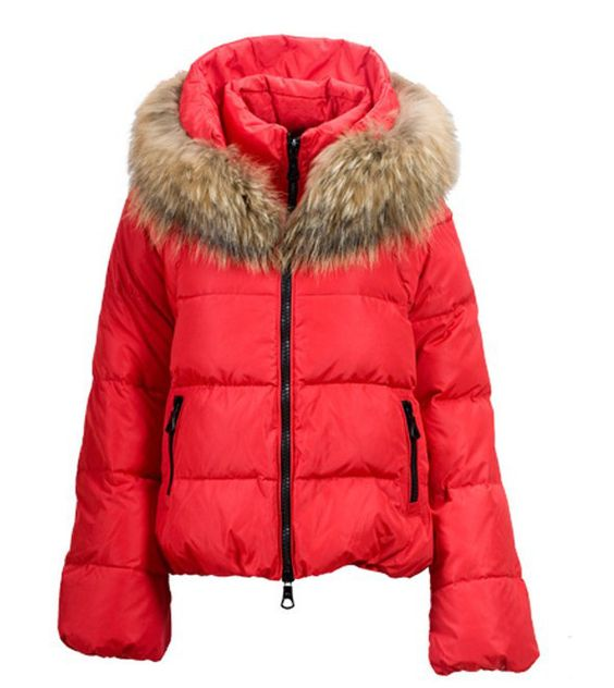 Moncler Sauvage Fur Collar Women Down Jacket Red $259 | Moncler ...
