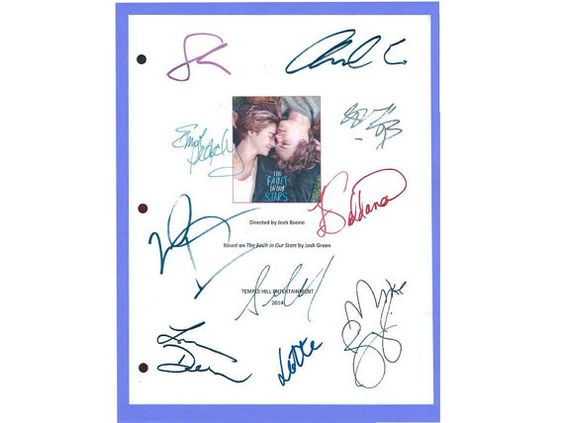The Fault In Our Stars Movie Script Autographed by hollywoodfinds