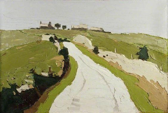 """Kyffin Williams """"Road to the Farm""""  1970–1990 Oil on canvas, 50.5 x 76.2 cm"""