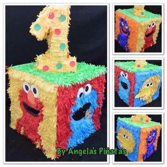 Sesame street custom made pi ata by angela 39 s pinata 39 s elmo for Angela decoration