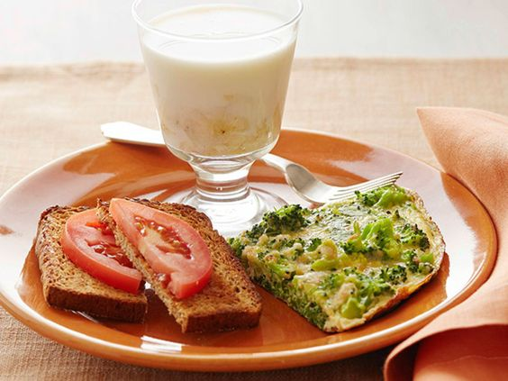 Broccoli Frittata with Tomato Toast and Banana Milk recipe from Food Network Kitchen via Food Network