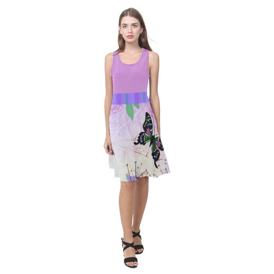 New Guinea Delight with Pink & Purple-Striped Accents Atalanta Casual Sundress(Model D04)