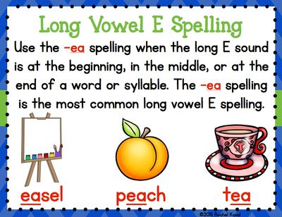 Searching for Long & Short Vowel EDistinguishing between the short and long vowel sounds can be difficult for some children. This product contains three center activities focusing on short and long vowel e and the long vowel e spellings -ea and -ee.  Sort One: Your students will learn and have fun searching their classroom for cards during this short and long vowel sorting game. After finding the cards, they need to write the words on the proper column on their recording sheet.