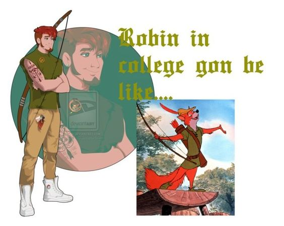 """""""Robin in College!!!!!!"""" by hallaib4zari ❤ liked on Polyvore featuring Disney, robinhood and disneycharacter"""