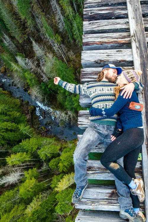 Snuggling your loved one? Definitely. Snuggling your loved one on a rickety bridge? NOPE! Lol!: