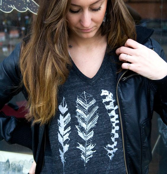 Feather T shirt. $25.00, via Etsy.