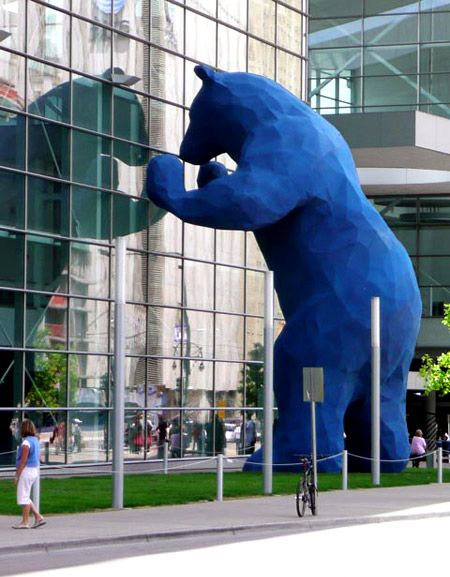 """Public art installation called """"I See What You Mean"""". It stands 40' tall with an exterior lapis lazuli blue coloring. Created by sculptor Lawrence Argent - http://www.lawrenceargent.com/ for the Colorado Convention Center."""