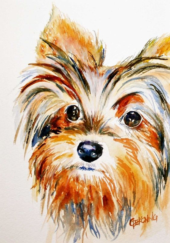 Yorkie ACEO dog painting giclee reproduction | Animals | Pinterest ...