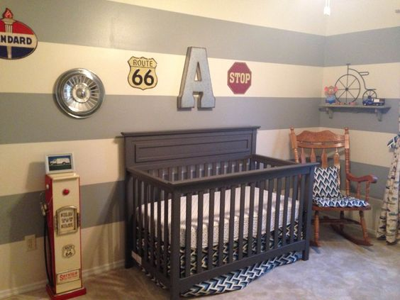Project Nursery - Vintage Car Themed Nursery with Striped Accent Wall