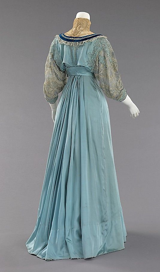 Afternoon dress (rear view) House of Paquin (French, 1891–1956) Designer: Mme. Jeanne Paquin (French, 1869–1936) Date: 1906–8 Culture: French Medium: silk Dimensions: Length at CB (a): 18 1/2 in. (47 cm) Length at CB (b): 45 in. (114.3 cm) Credit Line: Brooklyn Museum Costume Collection at The Metropolitan Museum of Art, Gift of the Brooklyn Museum, 2009; Gift of Mrs. Robert G. Olmsted and Constable MacCracken, 1969 Accession Number: 2009.300.1596a, b