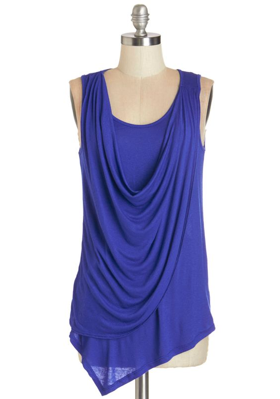 Draped in Delight Top in Royal Blue. Start off your casual ensembles with an extra touch of charm by slipping into this cobalt-blue tank! #blue #modcloth