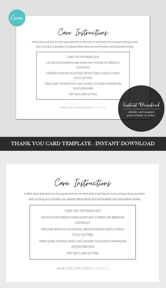 Thank You Card Backside Template Canva Shirt Care Card Etsy Thank You Card Template Thank You Cards Card Template
