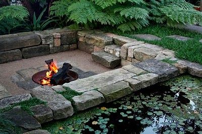 Sunken fire pit, sitting area. I would love to do this in my yard!:
